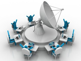 Satellite dish and success business people