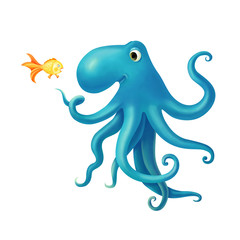 illustration with a friendly octopus and frightened fish