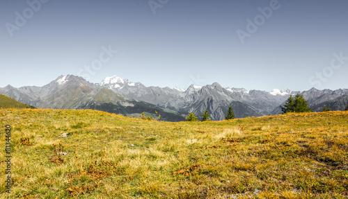 Deurstickers Droogte Panorama di montagna con prato