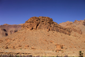 the rocky desert mountains in central Morocco