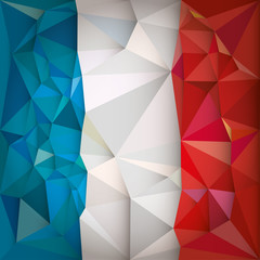 Stylized flag of France low poly