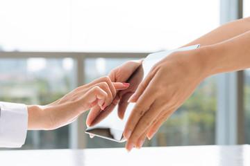 Pointing at digital tablet