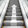 Shining metal escalator with white 3d arrow - 81346865