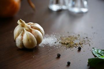 Garlic, salt, pepper and onion