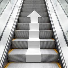 Shining metal escalator with white 3d arrow