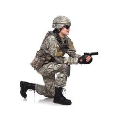 soldier shoots a gun