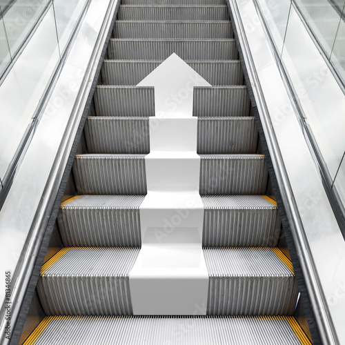 Keuken foto achterwand Trappen Shining metal escalator with white 3d arrow