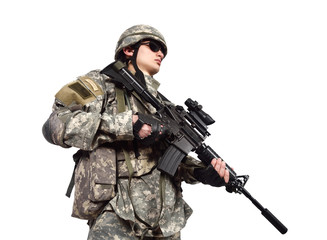 soldier holding his assault rifle