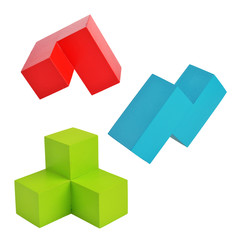 complex three-dimensional shapes on a white isolated background