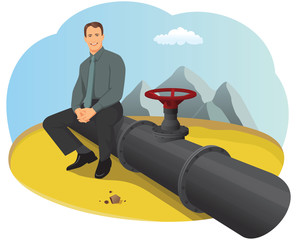 Happy businessman sitting on the oil pipeline in the desert