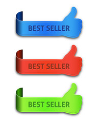 Thumb up banners set with the inscription best seller isolated o