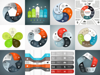 Vector infographics templates set. Template for cycle diagram