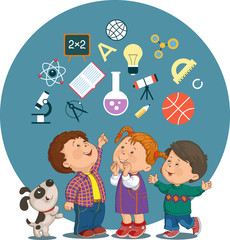 Cartoon children with education icons