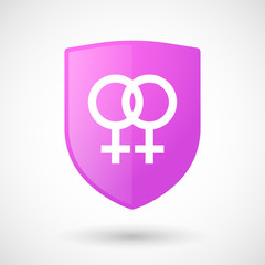 Shield icon with a lesbian sign
