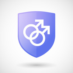 Shield icon with a male gay sign