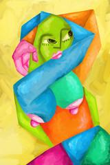 astratto con donna colorata