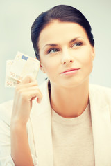 businesswoman with cash money