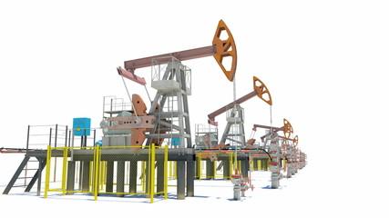 Oil pump-jacks. Isolated