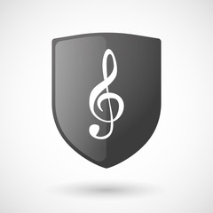 Shield icon with a g clef
