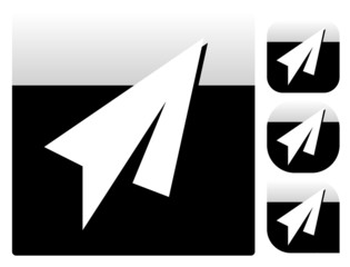 Paper Plane Icons with different shapes. (Square, ronded square,