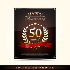 Anniversary golden brochure template