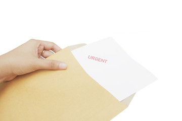 hand holding brown Envelope with urgent message Isolated on Whit