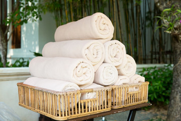 rolled bath towels at hotel spa