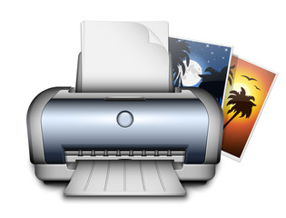 Printer and printed photos. Vector Illustration