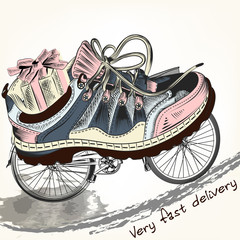 Fashion background with sports boots on a bike wheels symbolized