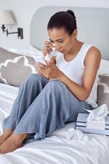 depressed woman cellphone