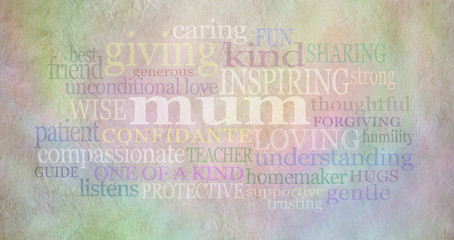 Mum Word Cloud on parchment