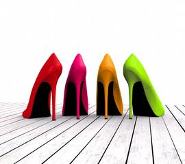 3D colourful high heels on floor