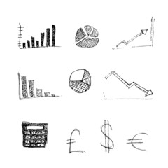 Hand drawn pen and ink style illustration of finance symbols