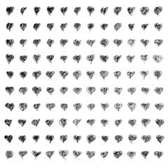 Hand drawn pen and ink style illustration of hearts