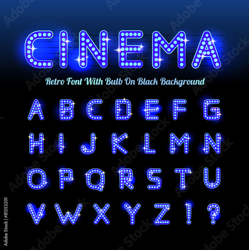 Retro cinema font - 81353201