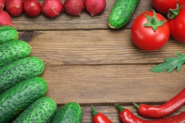 Vegetables  On The Rough Wood Background