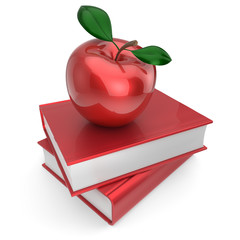 Books and apple red school book education textbook