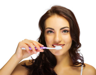 Young girl with tooth brush