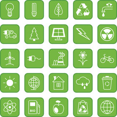 Set of flat icons Ecology and Environment