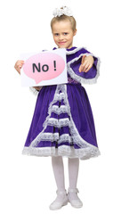 "Little girl with ""No"" banner"