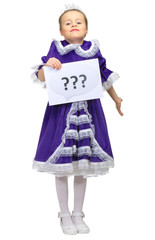 Little girl with question banner