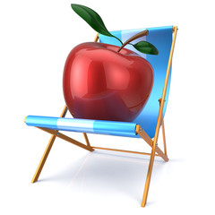 Red apple sitting in beach chair fresh healthy vegetarian diet
