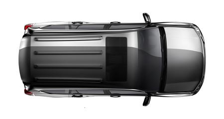 Black heavy suv car on white