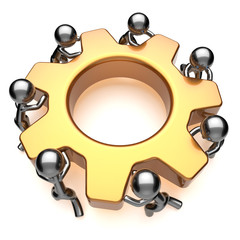 Partnership teamwork business process workers turning gear