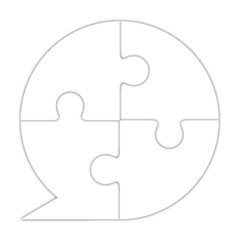 Icono puzzle comentario blanco