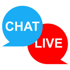 Icono texto CHAT LIVE rojo azul