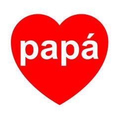Icono texto papá en corazon