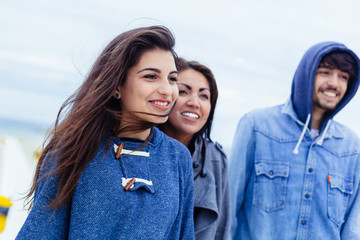 Three Friends Having Fun Outdoors