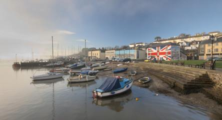 Boats Moored on the River Tamar in Saltash, Cornwall.
