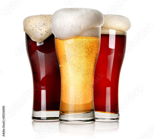 Plexiglas Bar Three beers isolated